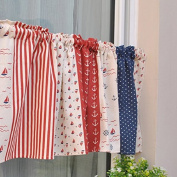 American Rural Patwork Cotton Printed Window Curtain Valance Tier Pair Curtain Tier For Kitchen Cafe Bars 140cm x 38cm