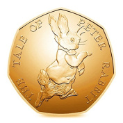 Brand New 24K carat Gold Plated 2017 Unblemished Brilliant Uncirculated 'The Tale of Peter Rabbit' 50p Fifty Pence Coin with Capsule Holder