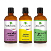 Lemon, Lavender and Peppermint Set. 100% Pure, Undiluted, Therapeutic Grade. (3 x 100 ml