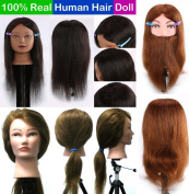 eCowboy Cosmetology Training 100% Real Human Hair or Beard Head Mannequin Hairdressing Doll with Table Clamp #USA Seller 6-22