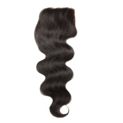 Longqi Hair Brazilian Body Wave Lace Closure 1PC 44 100% Unprocessed Human Hair Extensions Natural Colour