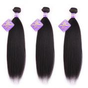 Favour Beauty Store Brazilian Virgin Hair Yaki 3 Bundles(14 16 18) Hair Extensions Natural Black Colour 100% Unprocessed Yaki Human Hair Weave