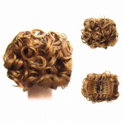 FESHFEN Short Messy Curly Hair Bun Piece Up Do Drawstring Ponytail Hair Extensions Chignon Comb Clip Scrunchy Scrunchie-27# Strawberry Blonde