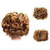 FESHFEN Short Messy Curly Hair Bun Piece Up Do Drawstring Ponytail Hair Extensions Chignon Comb Clip Scrunchy Scrunchie-27# Strawberry Blonde