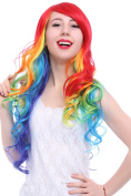 ROLECOS Womens Long Wavy Hair WigFashion Synthetic Wigs for Halloween Multicolor