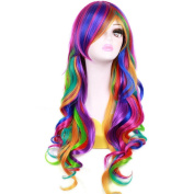 RightOn Women Girl's 70cm Long Wavy Rainbow Wig with Wig Cap