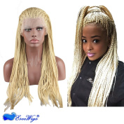 Dreambeauty Cheap Braided Synthetic Lace Front Wigs 613 blonde Colour for Woman 46cm