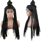 Dreambeauty Synthetic Lace Front Wigs Handmade Long Braided Lace Wig for Women Black Colour 41cm