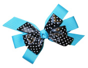 Webb Direct 2U Girls Black Dotted GrosGrain Hair Bow French Clip Turq 8008FC