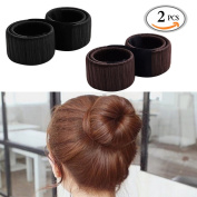 OR Pure 2pcs Fashion Hair Styling Hair Donut Former Foam French Twist Magic DIY Tool Bun Maker Clip Curler Roller Tool Hair For Girl Ladies