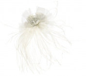 Lillian Rose Marabou Feather Hair Clip, 15cm , White