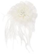 Lillian Rose Marabou Feather Hair Clip, 15cm , Ivory