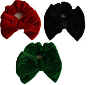Aadya Set of 3 Velvet Hair Scrunchies With Bow Elastic Scrunchy Hair Bobbles Scrunchy Ponytail Holders