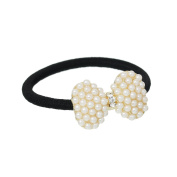 Nylon Cirlce Ring Hair Band Ponytail Holder Black Acrylic Imitation Pearl Choose Your Style From Menu
