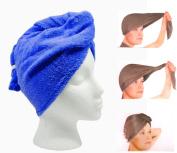 Turbo Microfiber Hair Twist Towel - Super Absorbent Hair Towel - 2pc Set - Blue