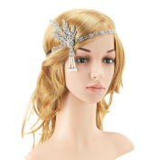 KaKaxi 1920s Pearl Headpiece Headband Flapper Great Gatsby Leaves Bead Medallion for 20's Themed Party Wedding