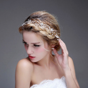 Bridalvenus Wedding Bridal Gold Headband - Bridal pearl halo - Bridal hair Updo accessory Wedding Bridesmaid Headpiece for Women and Girls