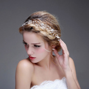 Bridalvenus Wedding Bridal Gold Headband - Bridal pearl halo - Bridal hair Updo accessory Wedding Bridesmaid Headpiece for Women and Girls