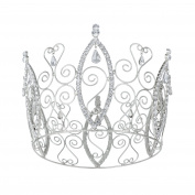 DcZeRong Full Tiara Queen Crown 7.6cm - 0.5cm High Rhinestone Prom