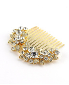NYFASHION101 Women's Elegant Bridal Rhinestone Flower Pattern Hair Comb HC4270, Gold-Tone