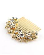 NYFASHION101 Women's Elegant Bridal Rhinestone Flower Pattern Hair Comb HC4270, Gold-Tone