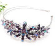 New Woman's Rhinestone Leaf Flower Bling Hair Headband Prom Wedding Accessories Beautyxyz