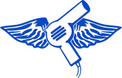 HAIR DRYER WITH WINGS 10cm TALL DECAL BLUE - manufactured & sold by EYECANDY DECALS only