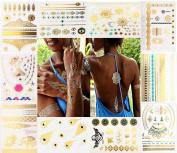 10 Sheets Premium Metallic Flash Tattoos.Ocean,Bride,Eagle,Arrow,Lace, Elephant, Necklace, Starfish, mermaid, feather over 150 Design Waterproof Temporary Tattoos.