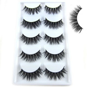 Mokde Mondge 5 Pairs/Box Handmade Mink Fur Pretty Eyelash 3D Strip Lashes Thick Fake Faux Eyelashes