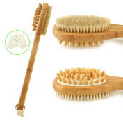 Scheam Back Scrubber Brush with Exfoliating Gloves Natural Bamboo Boar Bristles Long Handle Shower Body Scrub Double-Sided Brush Anti Cellulite Skin Brushing for Men and Women