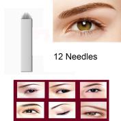 CINRA 100pcs Permanent Makeup Manual Eyebrow Tattoo Needle Embroidery Arc Blade