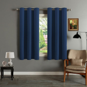 H.Versailtex Bedroom Solid Thermal Supersoft Blackout Curtains with Two FREE Tiebacks - Bay, 120cm Width x 140cm Drop, Set of 2 pieces