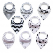 Baby Bandana Drool Bibs With Snaps (8 Pack) For Boys and Girls - Super Absorbent, Soft and Modern - Best Baby Shower Gift