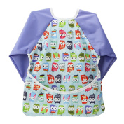 TinyToes Long-Sleeved Water-Resistant Adjustable Baby/Toddler Bib with FREE TRAVEL BAG and Adaptable Front Pocket Crumb-Catcher | Ideal for Mealtimes and Messy Play