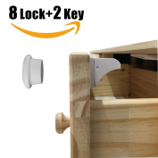 8 Lock and 2 Key, Magnetic Cupboard Lock for Baby - HomySnug Child Safety Locks for Cabinet and Drawer