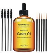 100% Pure Organic Castor Oil Hexane free - Great for Eyelashes, Hair, Eyebrows, Face and Skin , Hair Growth & Best Moisturiser for Skin & Hair with Treatment Applicator Kit, 1oz