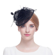 Valdler Black Feather Sinamay shaped Fascinator Hat For Tea Party