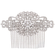 Fairy Moda Rhinestone Bridal Hair Comb Silver Wedding Bridesmaid Gift Vintage Hair Piece