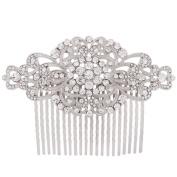 Fairy Moda Rhinestone Bridal Hair Comb Silver Wedding Bridesmaid Gift Vintage Hair Piece