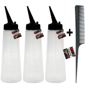 3 x COTU (R) Empty Applicator Bottle with Black Slant Tip - 240ml and 1 x COTU (R) Hair Comb Combo Bundle