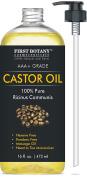 Castor oil 470ml - The BEST Emollient for Skin, Hair & Nail Care - Can be used as Hair Growth Serum, Face & Body Moisturiser, Eyebrow serum And Eyelash serum