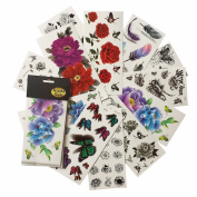 Floral Butterfly Tattoos (Pack of 12 Sheets) Bright Colourful 3D Flower Temporary Tattoo