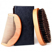 Beard Brush, Raniaco Round Hair Brush and Handmade Moustache Comb Kit with Boar Bristles for Men Goatee Care Trimmer Grooming Products,Beard Comb