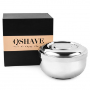 QShave Stainless Steel Shaving Bowl with Lid 10cm Diameter Large Deep Size Chrome Plated Shinning Finish