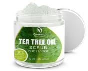 Antifungal Tea Tree Body & Foot Scrub - 350ml 100% Natural Antibacterial Exfoliator - Best Fungal Treatment Prevents Acne Dandruff Calluses Athlete's Foot Jock Itch - Premium Nature