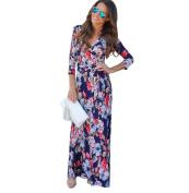 Hot Sale!Women Long Dress,Canserin Women's 2017 New V Neck Boho Floral Print Long Maxi Dress Evening Party Sundress Beach Dress