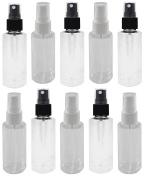 10 - 60ml Clear PET Bottle with 5 Black & White Fine Mist Sprayers