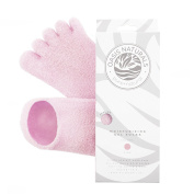 Oasis Naturals Gel Moisturising Sock for Healing Dry Cracked Heels and Feet - Spa Treatment Lavender & Jojoba Oil Toe Socks - 1 Pair, Pink
