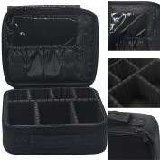 Lmeison Portable Makeup Train Case, Professional Make Up Artist Storage for Cosmetics, Makeup Brush Set ,Jewellery, Toiletry And Travel Accessories, Free Gift of a Removable & Adjustable Divider