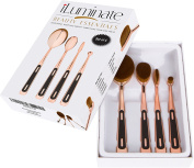Obsessions Oval Makeup Brush Set - 4pc Rose Gold Oval Makeup Brushes Set in Gift Box, Rose Gold Oval Brush Set with Usage Guide